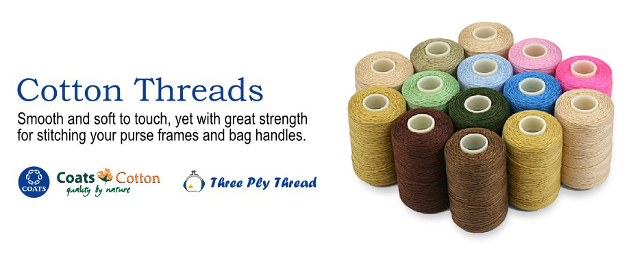 Cotton threads. Smooth and soft to touch, yet with great strength for stitching your purse frames and bag handles. Coats Cotton Quality by Nature. PatchLane's Three Ply Thread.